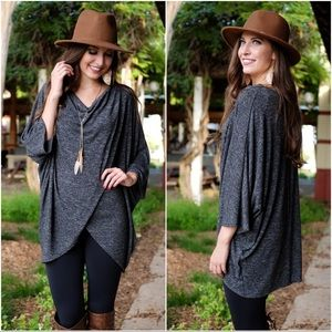 ✨RESTOCKED✨Charcoal Gray Poncho Style Tunic